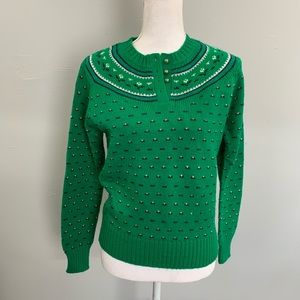 Vintage 40s / 50s fairs isles green sweater